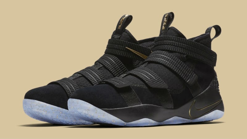 2017 Nike Lebron Soldier 11 Black Gold Basketball Sneakers Best
