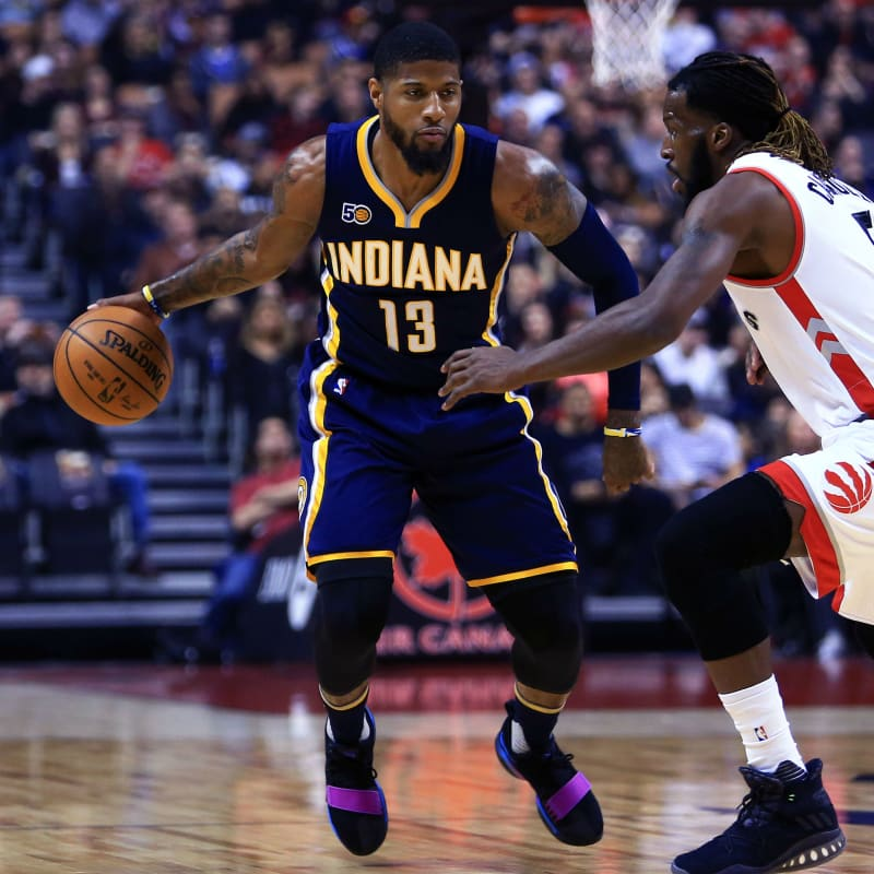 275d883a61a Paul George Wears the Wildest Nike PG1 Colorway Yet. Cracked Swoosh  colorway .