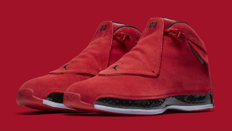 New 2018 Nike Air Jordan 18 Toro Gym Red Black Suede AA2494-601 Mens Shoes SZ 10