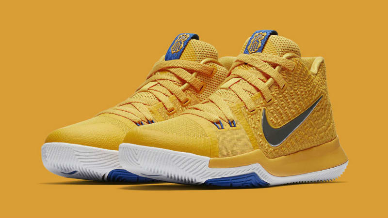 Original Nike Kyrie 3 MAC AND CHEESE University Gold Game Royal-Metallic Silver 859466-791 Basketball Shoe
