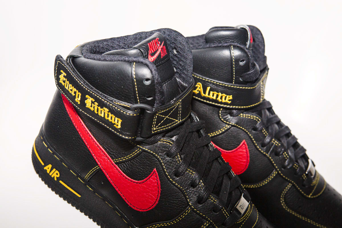 separation shoes 9839d 3f846 Vlone x Nike Air Force 1 High Black Red Paris Release   Sole Collector