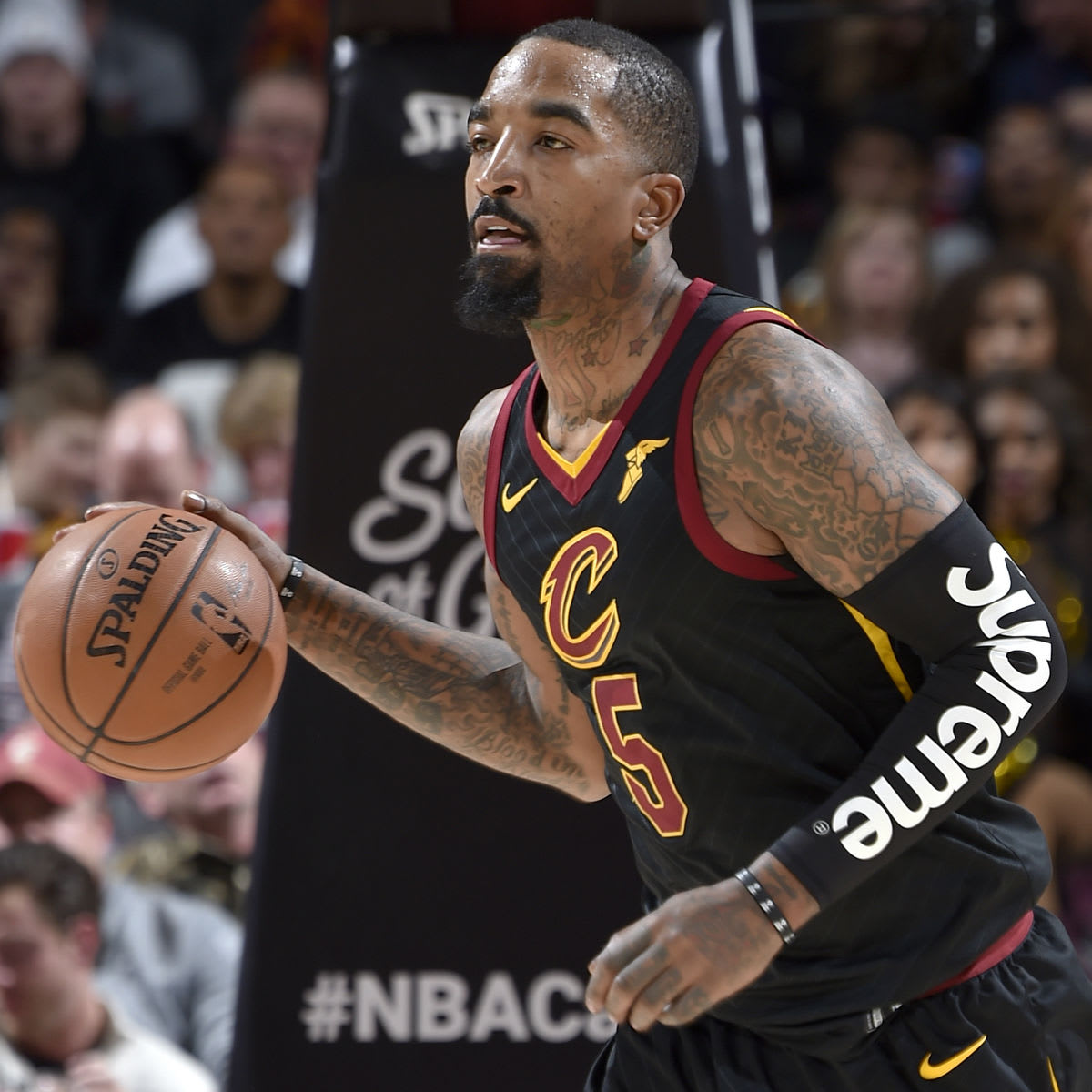 J.R. Smith Wears the Black Supreme x NBA Shooting Sleeve Against Lakers