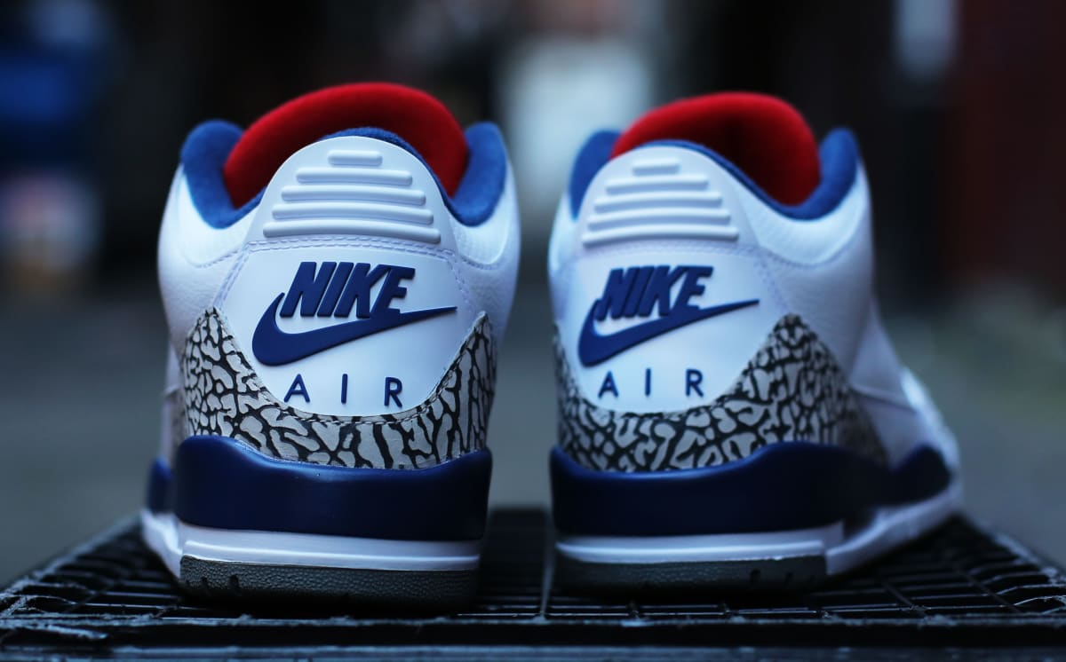 true blue air jordan 3s original red tongue sole collector