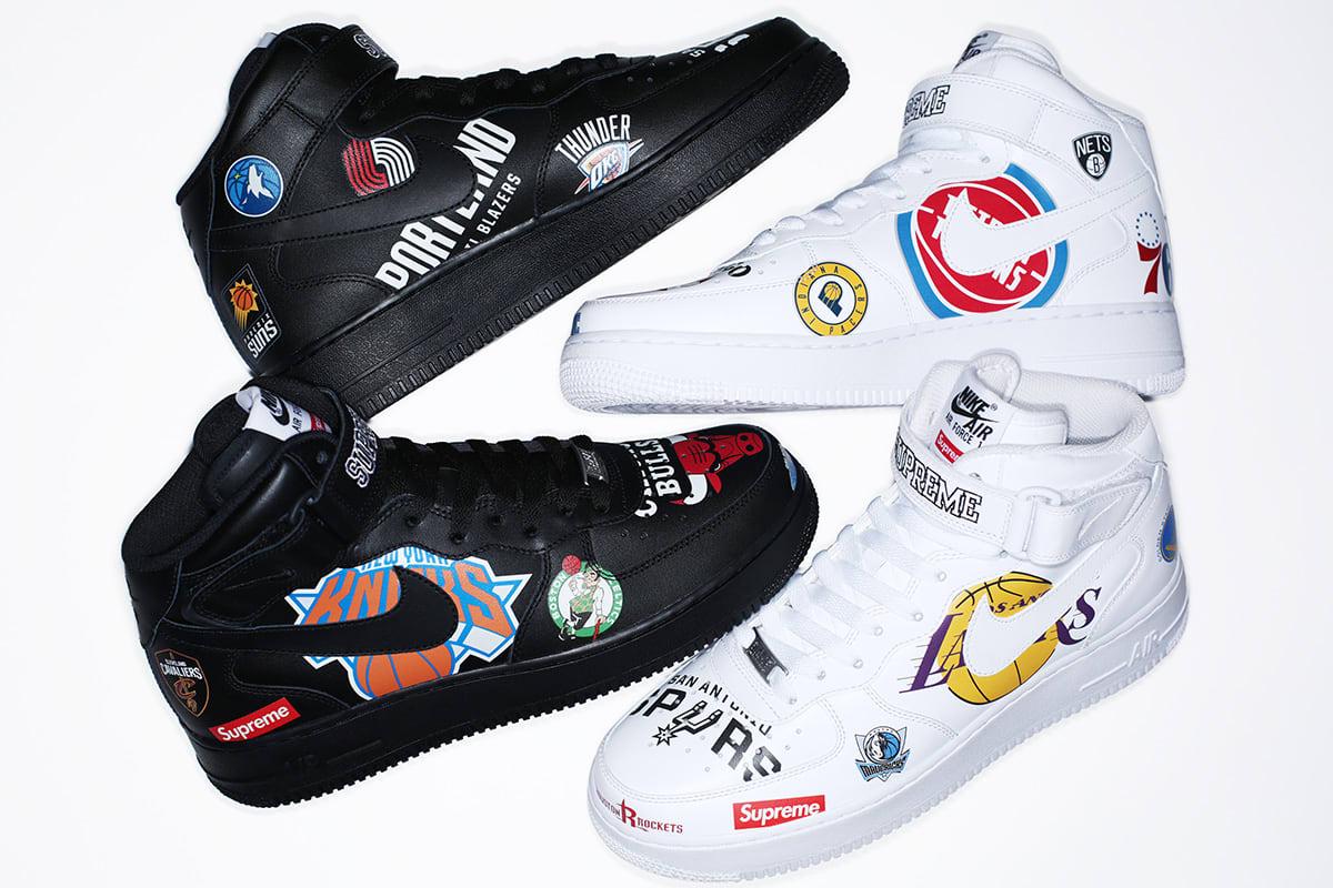 Nike Logo Nba: Supreme X Nike X NBA Collection Air Force 1 Mid 'White