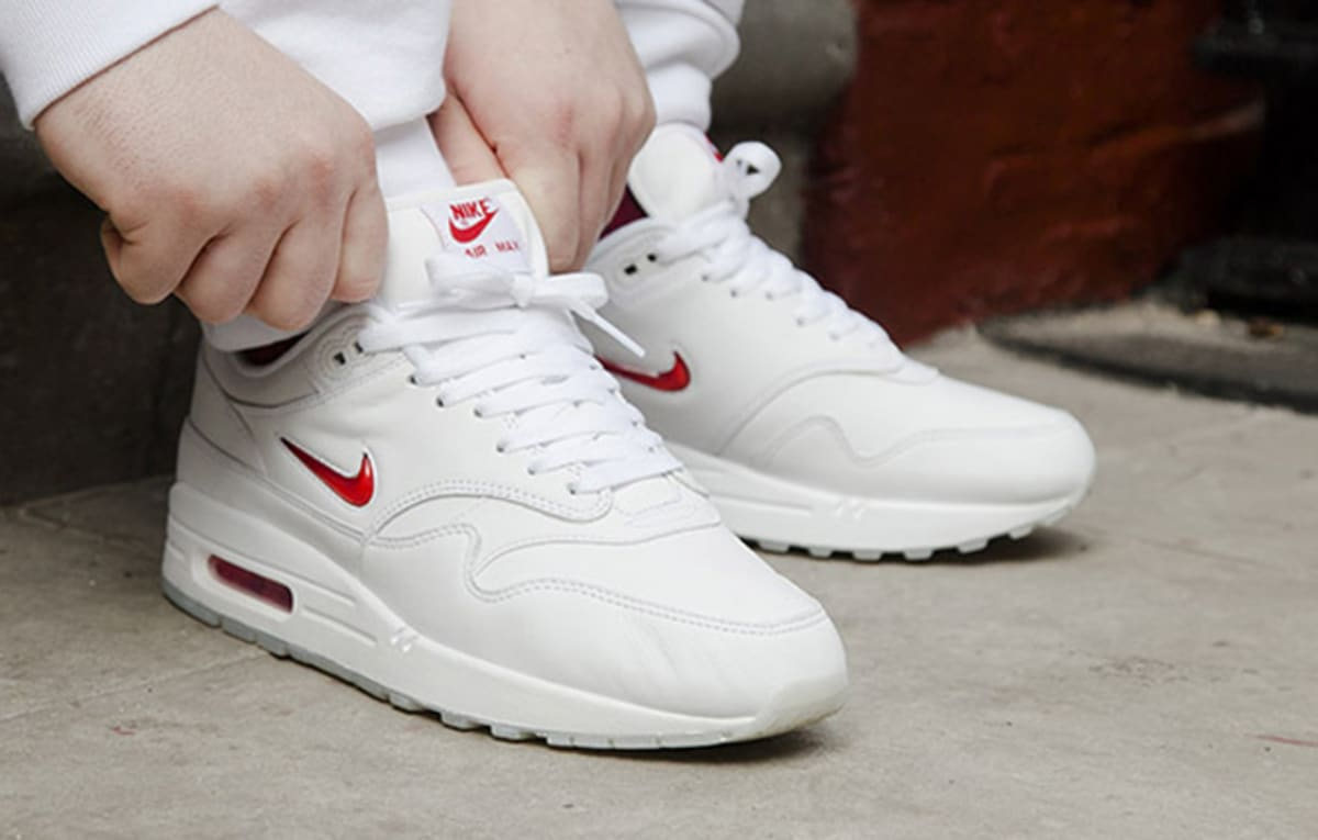competitive price ab108 bd932 Nike Air Max 1 Jewel Swoosh White Red   Sole Collector