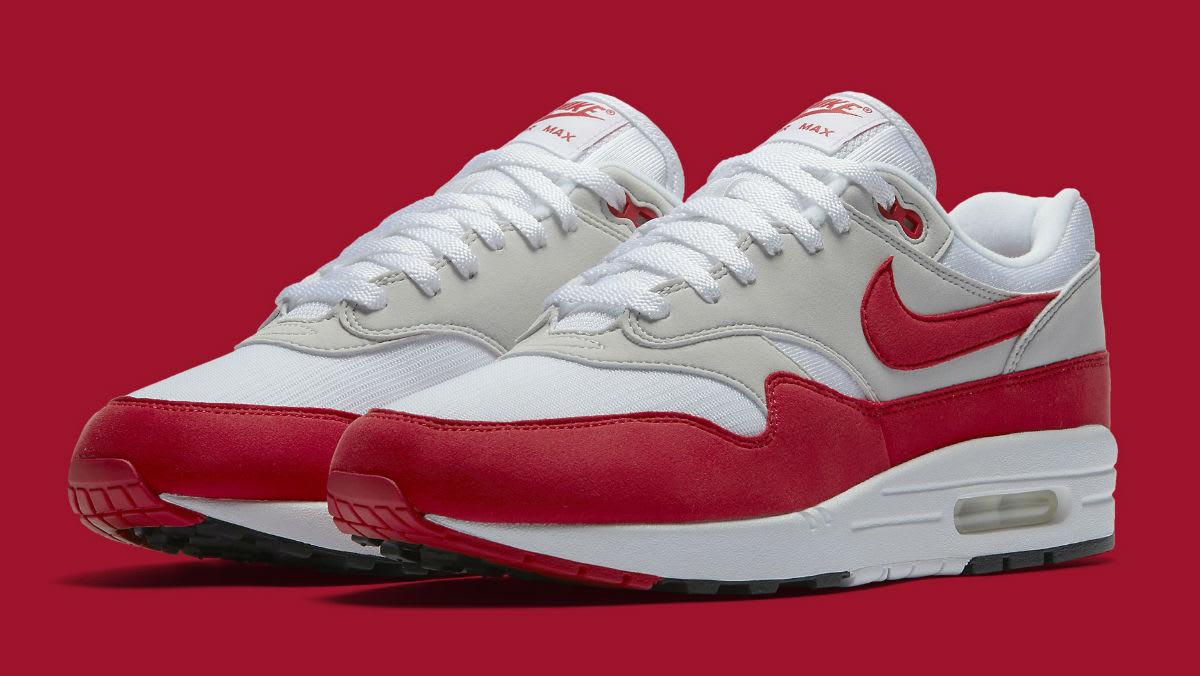 Nike Air Max 1 Anniversary White/University Red Restock   Sole ...