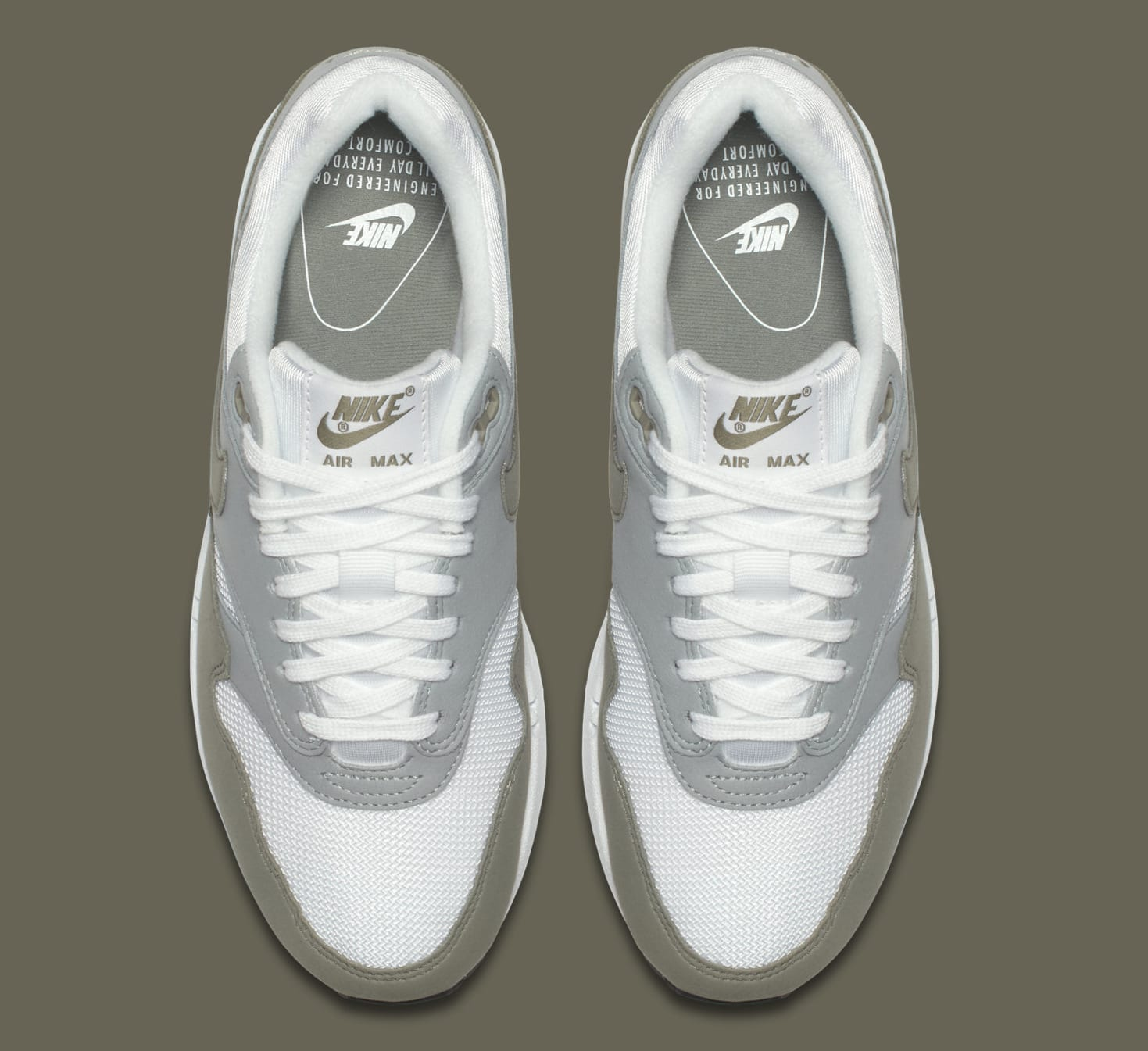 Nike Sportswear AIR MAX 1 - Trainers - white/dark stucco/light pumice sAJ7t1