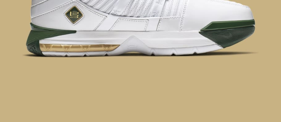 dd209f9fac0d52 Nike Zoom LeBron 3 Retro  SVSM Home  White Deep Forest-Gold Dust AO2434-102  Release Date