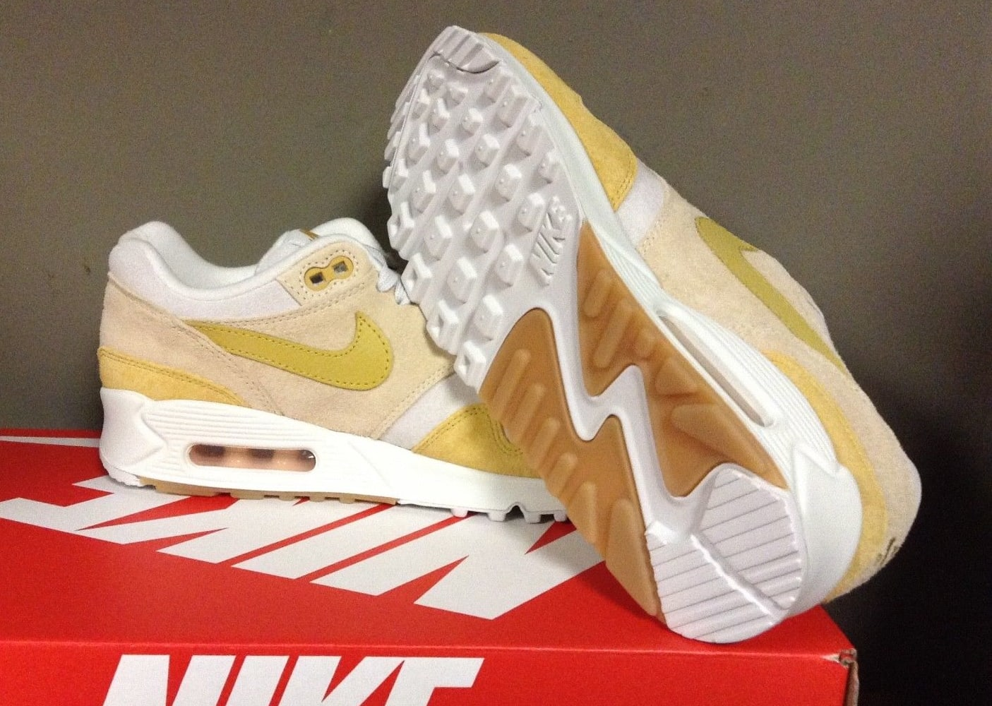 16a44221f80b6 Picture by way of eBay Nike Women's Air Max 90/1 Guava Ice Wheat Gold  Summit White AQ1273-800
