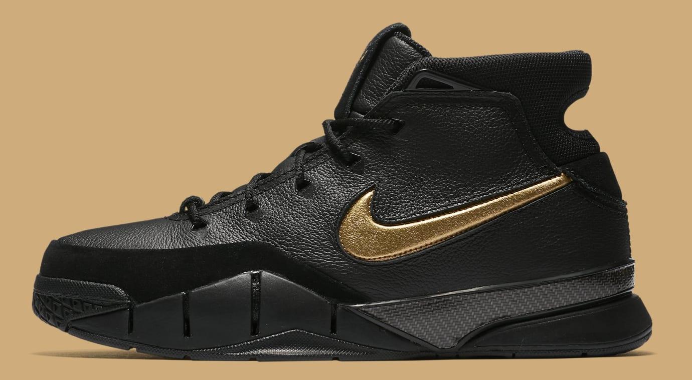 caf91a0b20f2 Nike Kobe 1 Protro  Black Black White Metallic Gold  AQ2728-