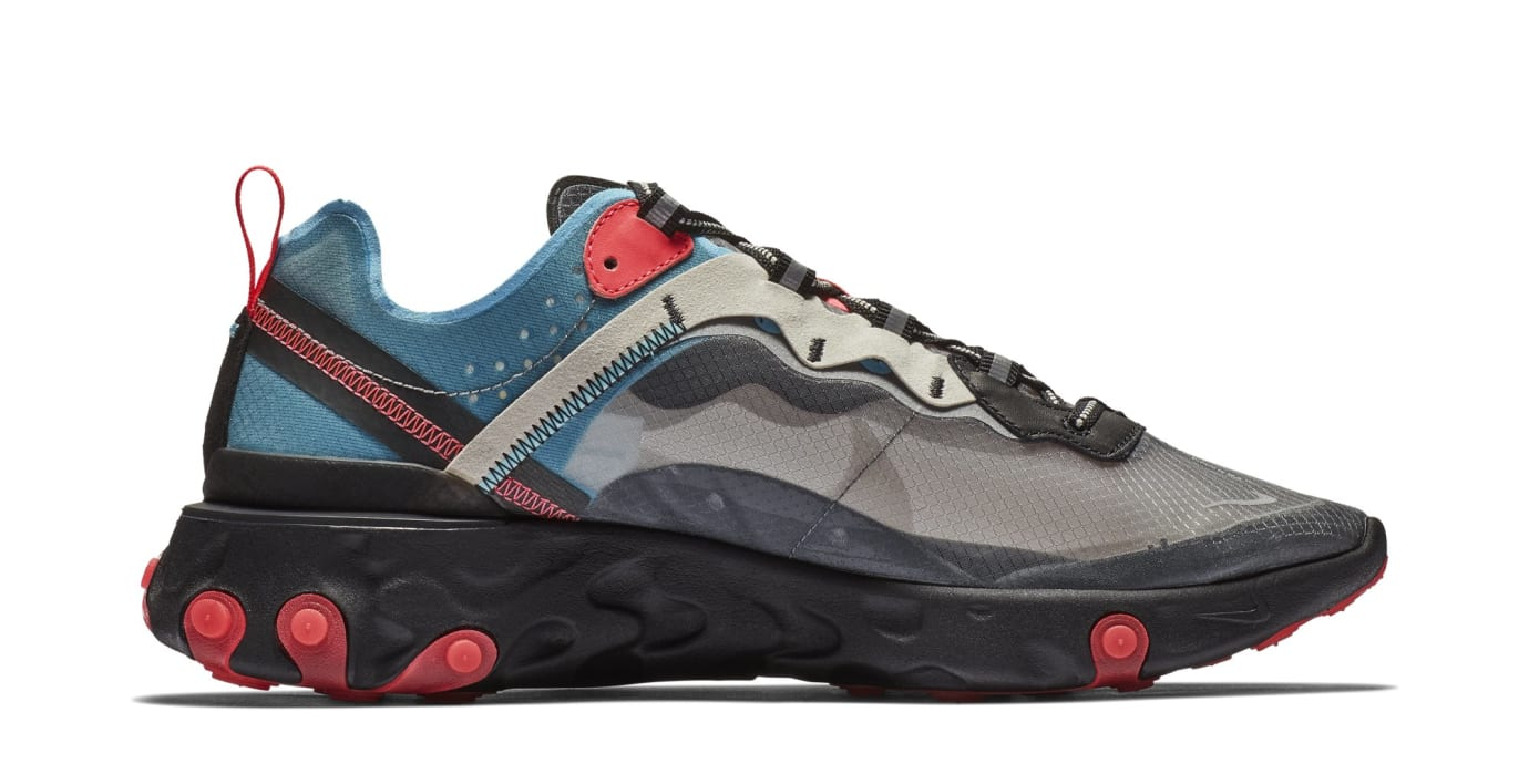 Nike React Element 87 'Black/Cool Grey/Blue Chill/Solar Red' AQ1090-006 (Medial)