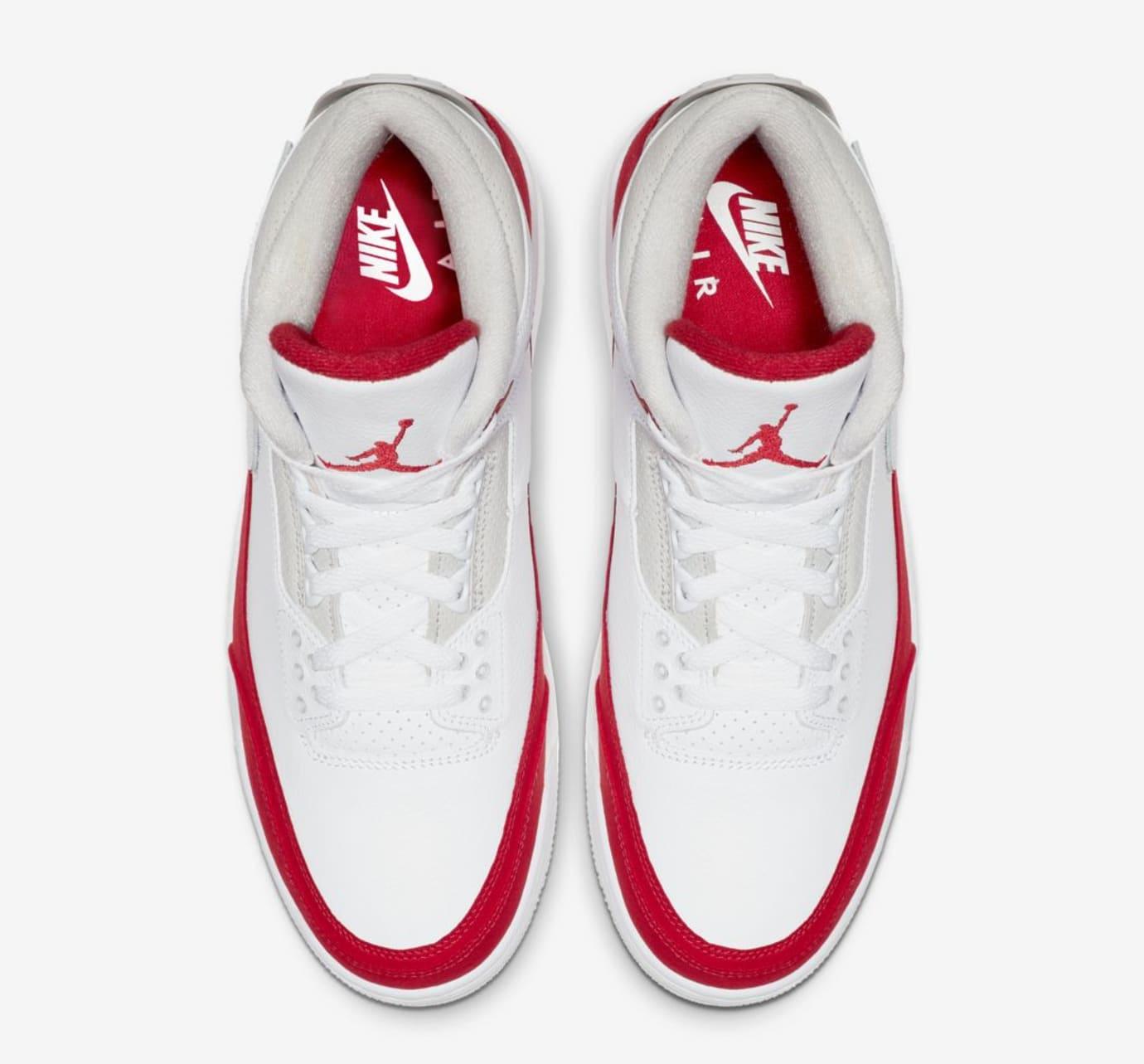 7623e41ed21c8d Image via Nike Air Jordan 3 Retro Tinker  White University Red Neutral  Grey  (Top