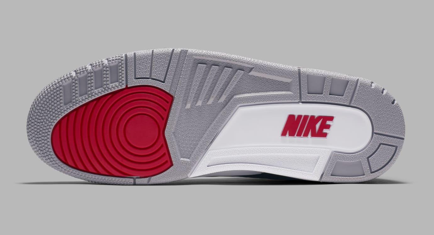 Air Jordan 3 Black/Cement Grey-White-Fire Red 854262-001 (Bottom)