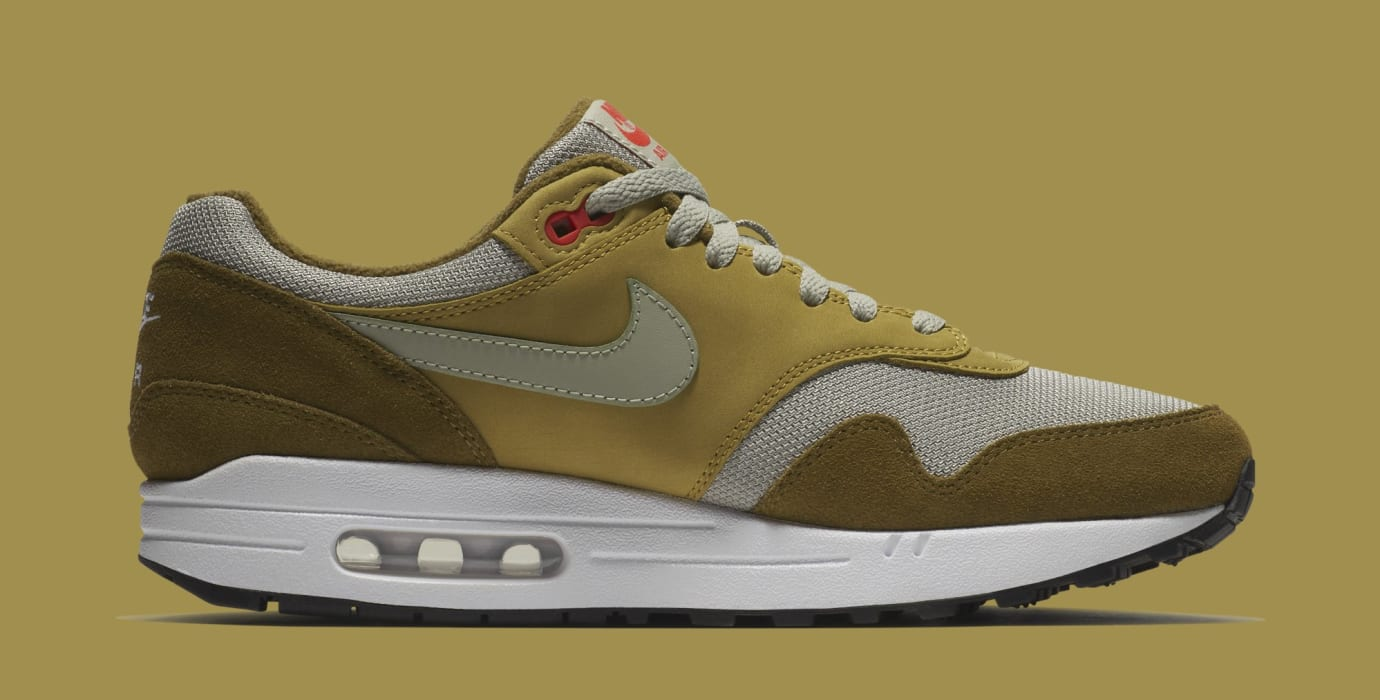official photos 878f9 9c589 Image via Nike Atmos x Nike Air Max 1  Green Curry  908366-300 (Medial)