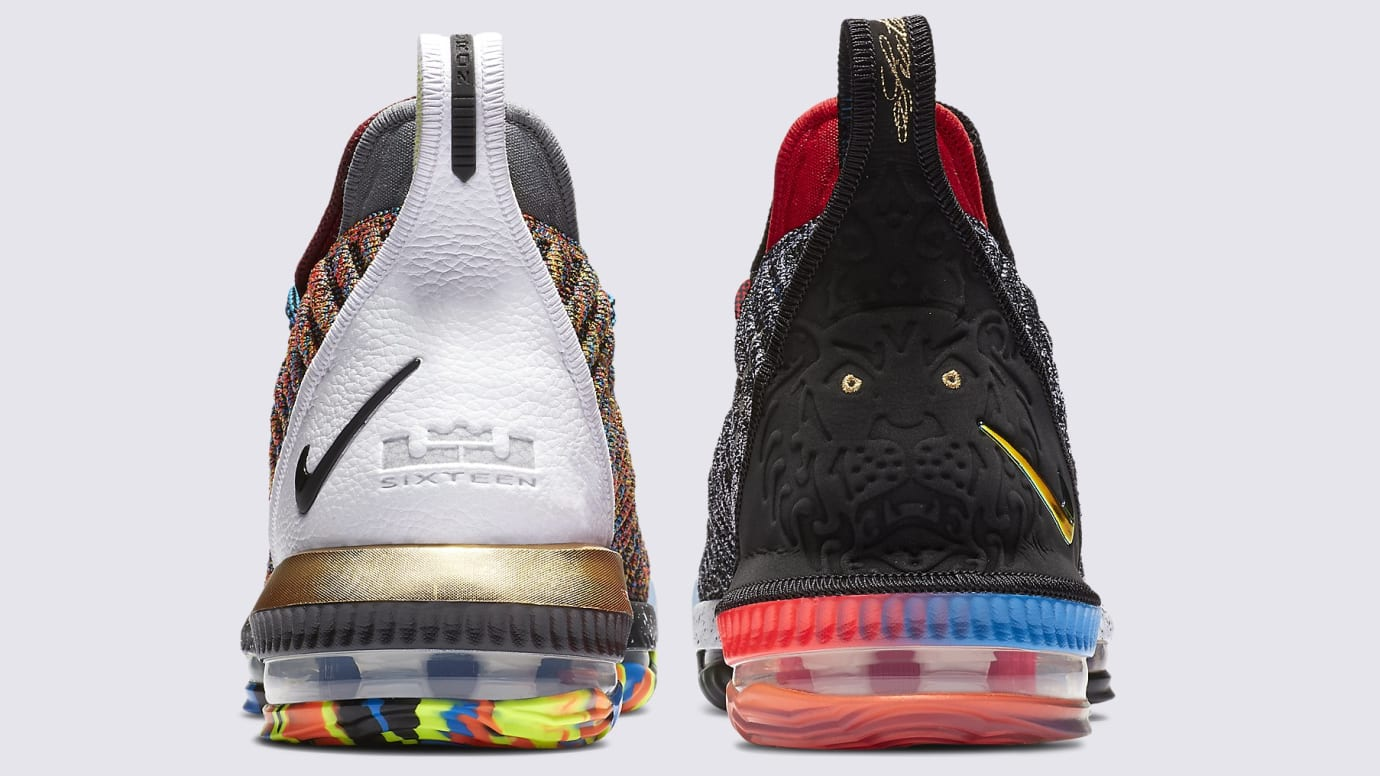finest selection dc187 d54b9 Image via Nike Nike LeBron 16 What The 1 Thru 5 Release Date BQ6580-900 Heel