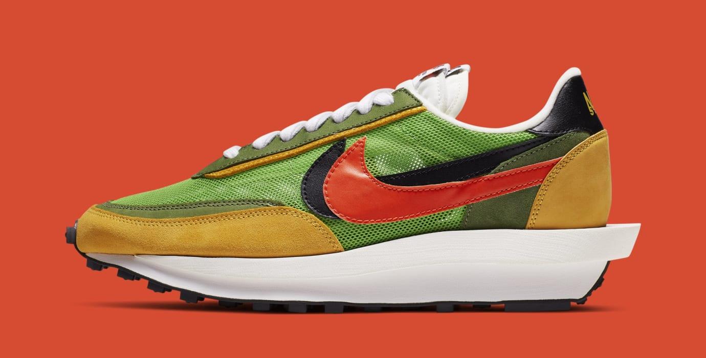 Sacai x Nike LDWaffle 'Green Gusto/Safety Orange/Black' BV0073-300 (Lateral)