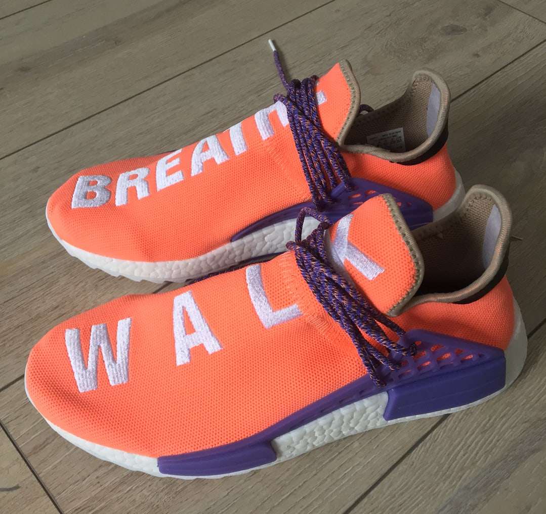 Pharrell x Adidas NMD Hu Breathe Walk Orange Purple Sample Profile