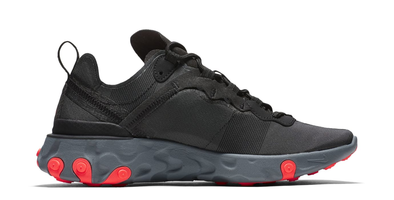 Nike React Element 55 'Black/Cool Grey/Dark Grey/Solar Red' (Medial)
