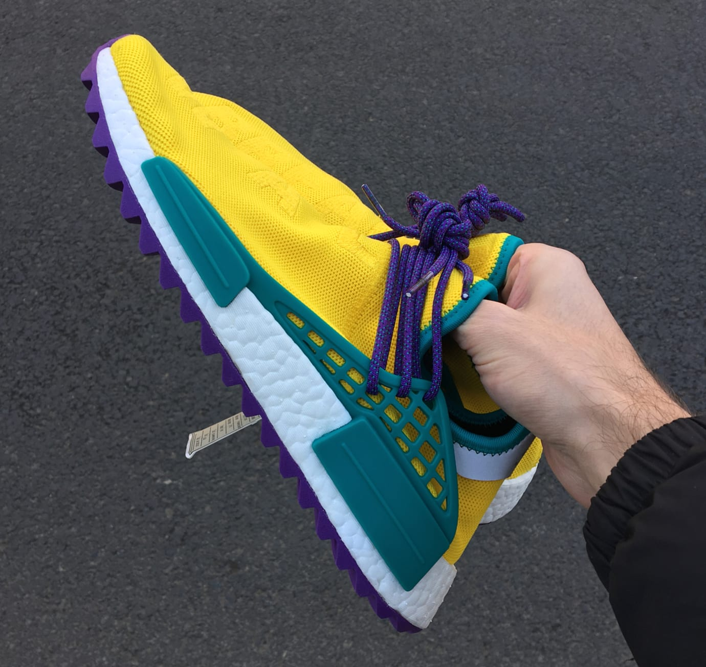 Pharrell x Adidas NMD Hu Breathe Walk Yellow Green Purple Heel