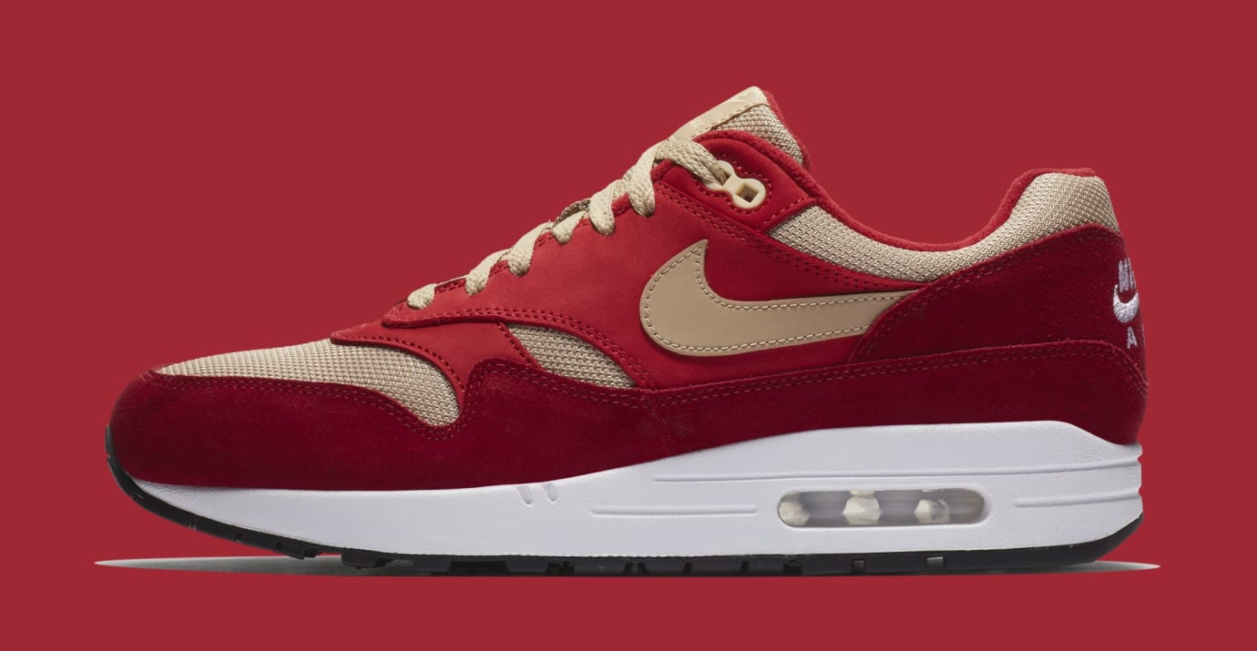 new york a7e6e f333a Image via Nike Atmos x Nike Air Max 1  Red Curry  908366-600 (Lateral)