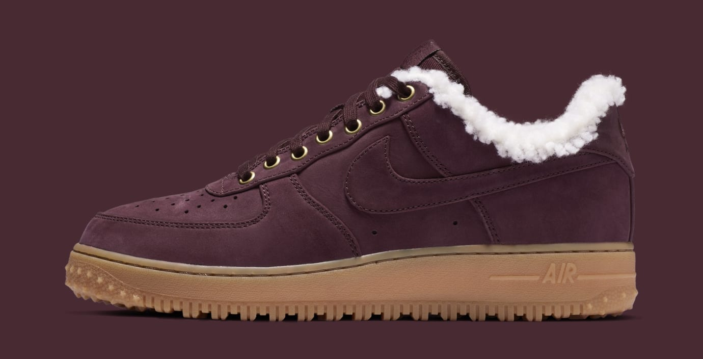 47b40d64a669 Nike Air Force 1 Premium Winter  Burgundy Crush Gum Light Brown  Av2874-