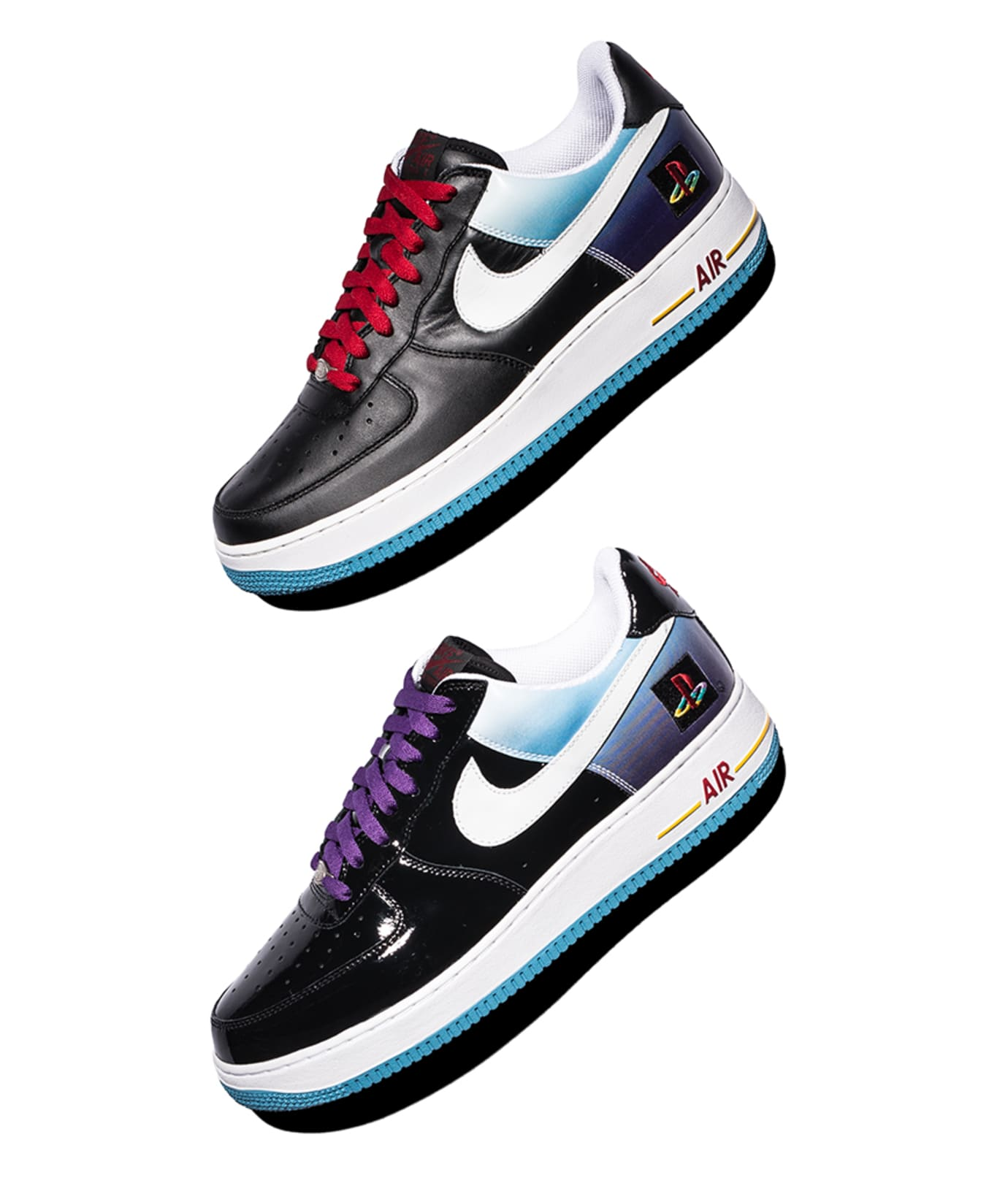 Playstation x Nike Air Force 1 Low (Premium Leather vs. Patent Leather)
