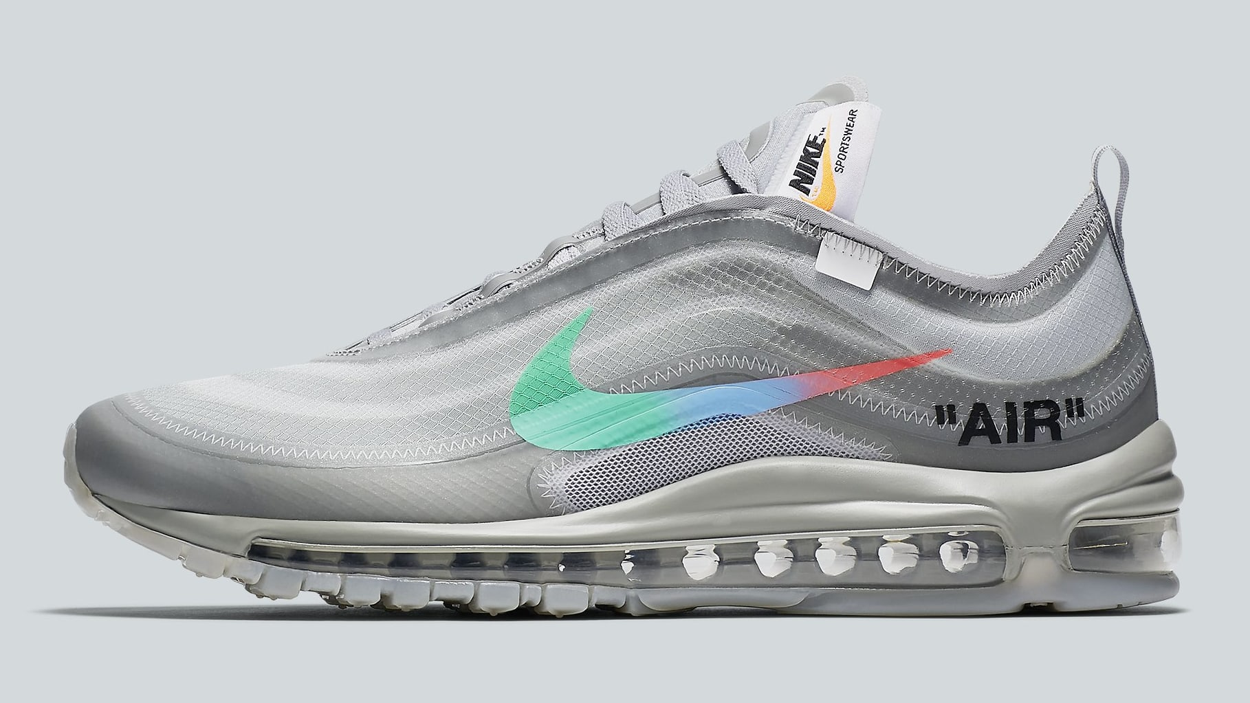 Off-White x Nike Air Max 97 Off-White Wolf Grey White Menta Release Date AJ4585-101 Profile