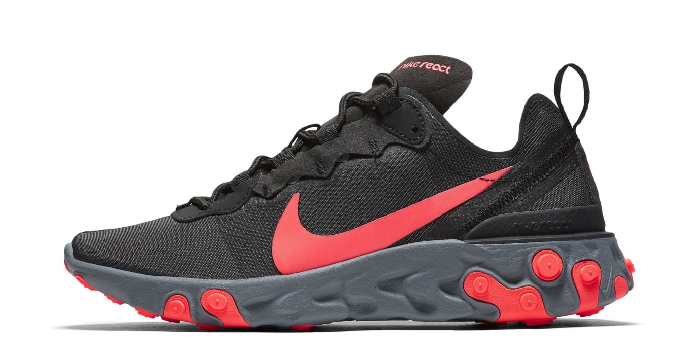 Nike React Element 55 'Black/Cool Grey/Dark Grey/Solar Red' (Lateral)