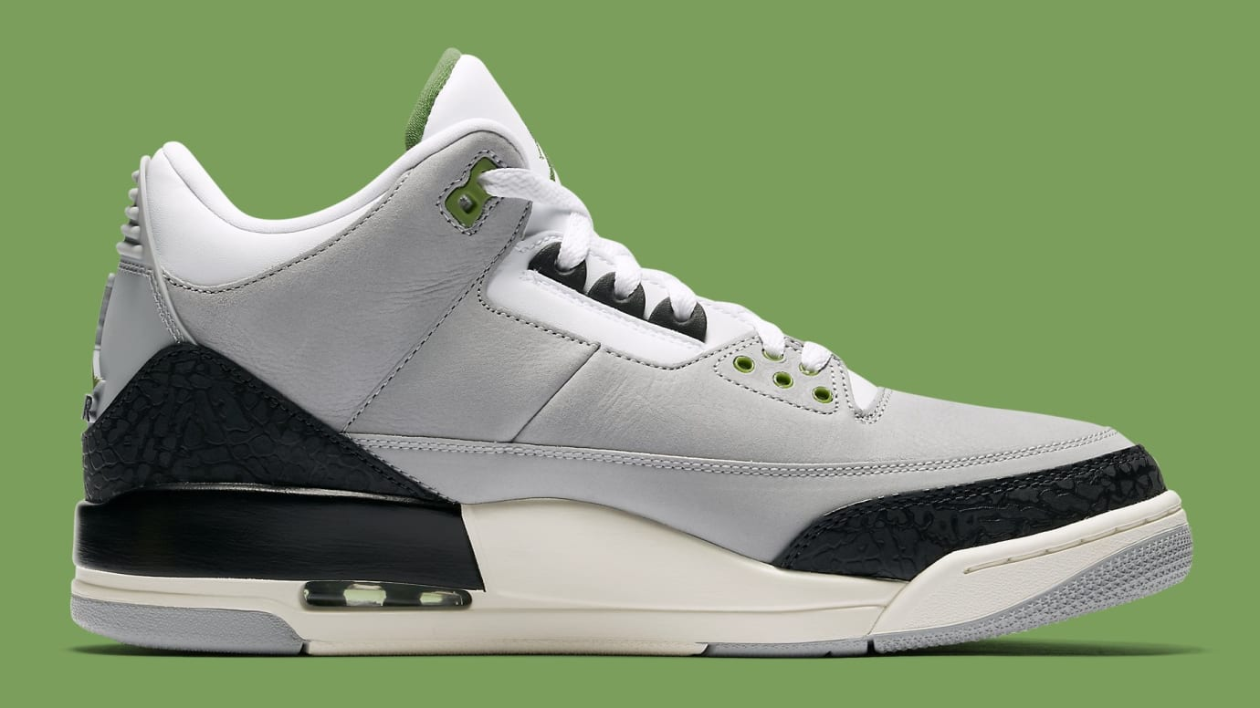 check out c9ef7 f9d1d Image via Nike Air Jordan 3 III Chlorophyll Tinker Release Date 136064-006  Medial