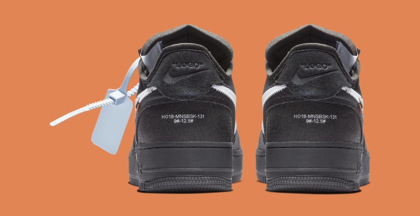 Off-White x Nike Air Force 1 Low 'Black/White' AO4606-001 (Heel)