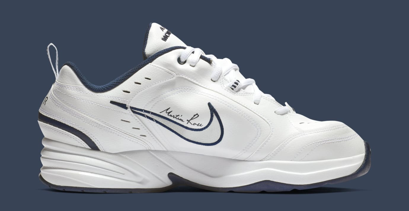 d08094246164 Image via Nike Martine Rose x Nike Air Monarch 4  White  AT3147-100 (Medial)