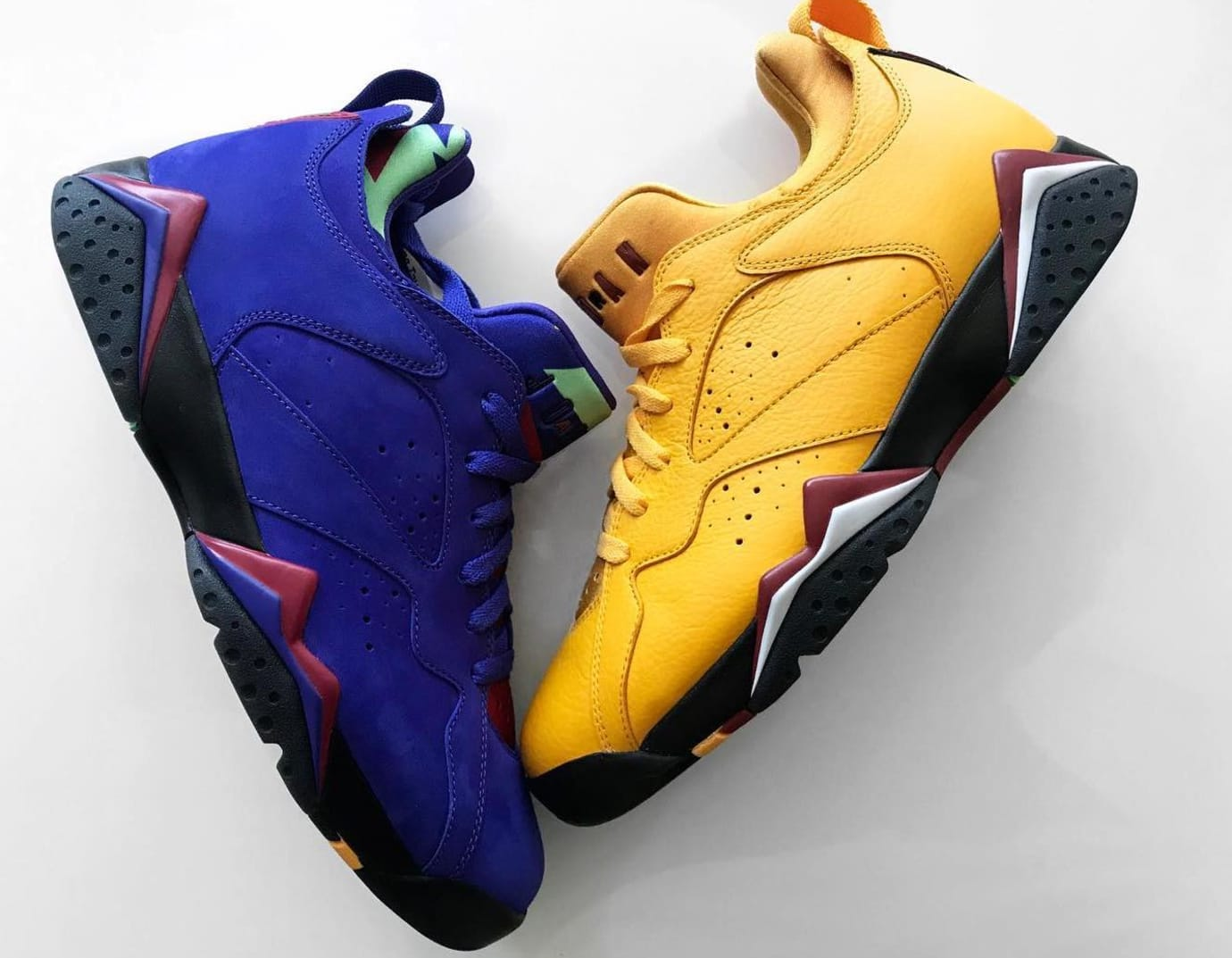 Air Jordan 7 Low NRG 'Bright Concord' and 'Taxi'