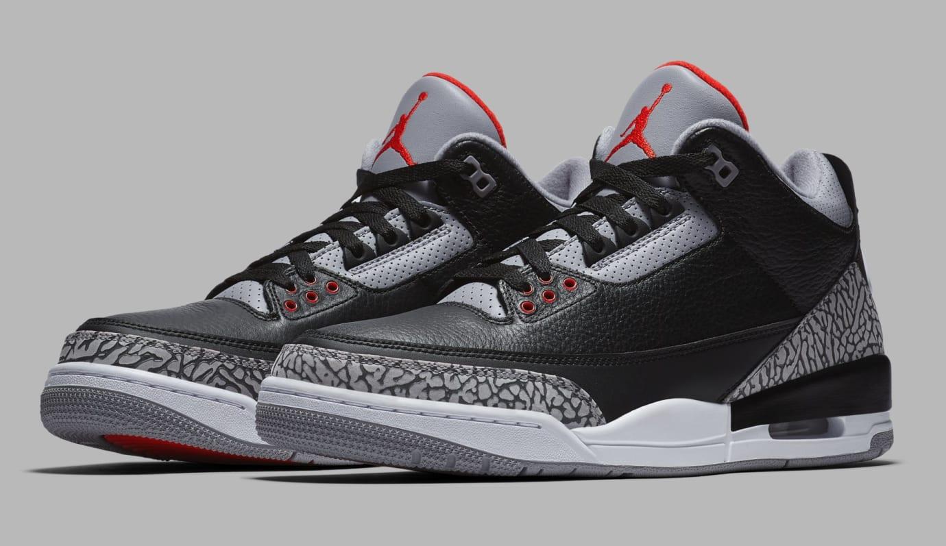 Air Jordan 3 Black/Cement Grey-White-Fire Red 854262-001 (Pair)