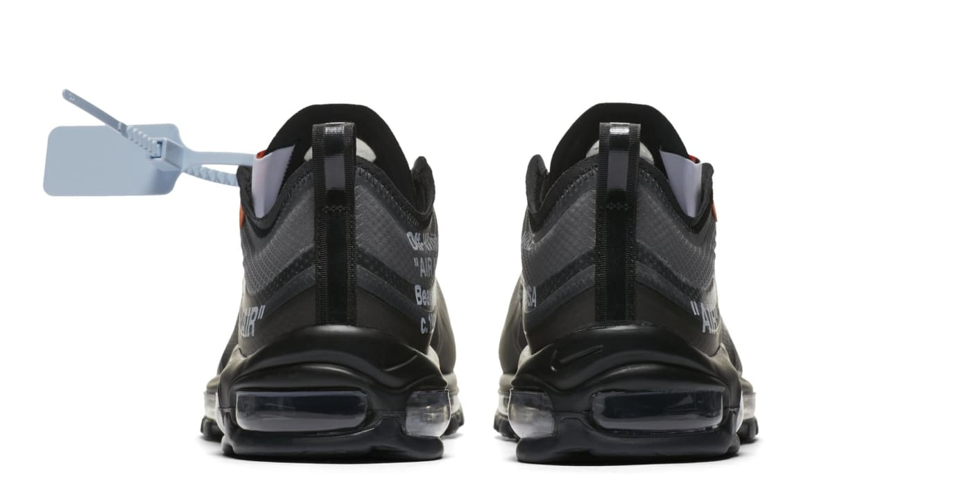 Off-White x Nike Air Max 97 'Black/Cone/Black/White' AJ4585-001 (Heel)