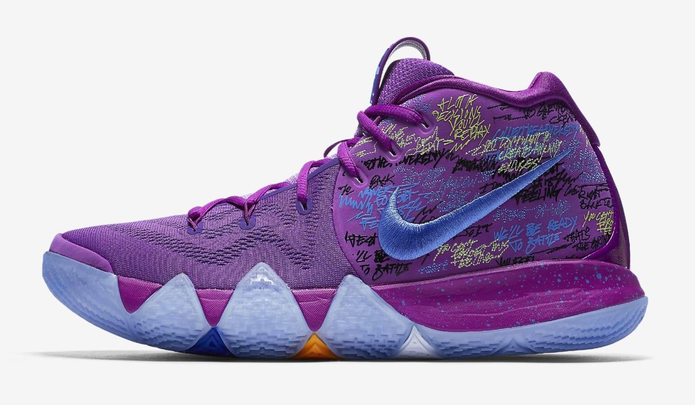Nike Kyrie 4 Confetti Multicolor Yellow Purple Release Date 943806-900 Profile
