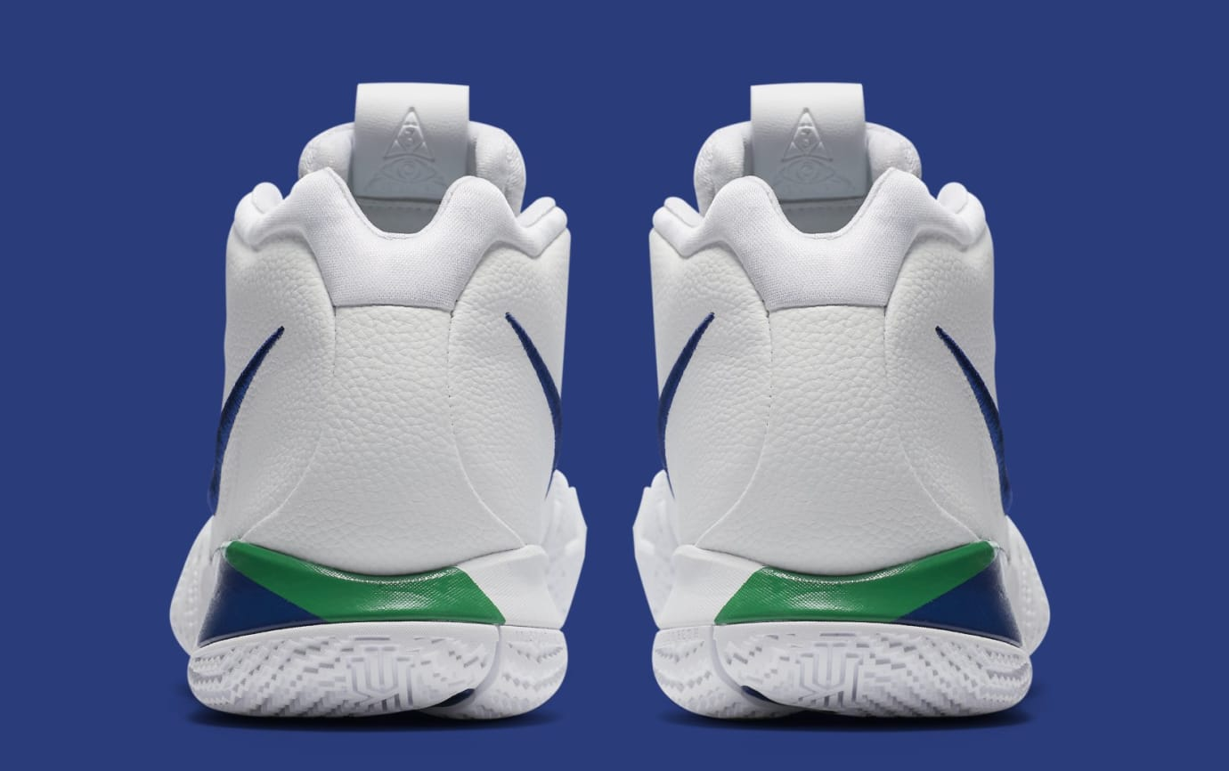hot sales 00f1e da529 Image via Nike Nike Kyrie 4  White Deep Royal Blue  943806-103 (Heel)