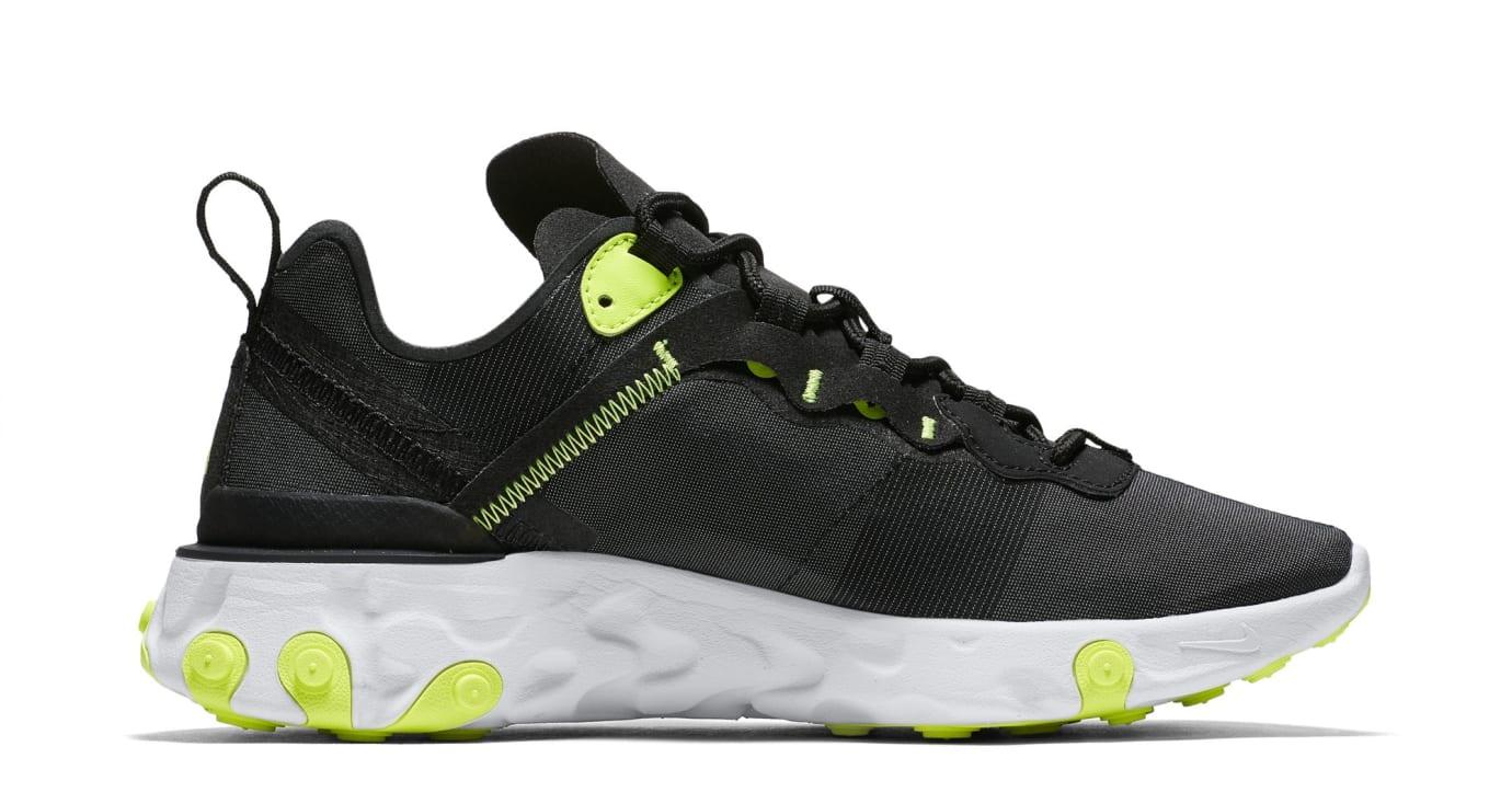 Nike React Element 55 'Black/Cool Grey/White/Volt' (Medial)