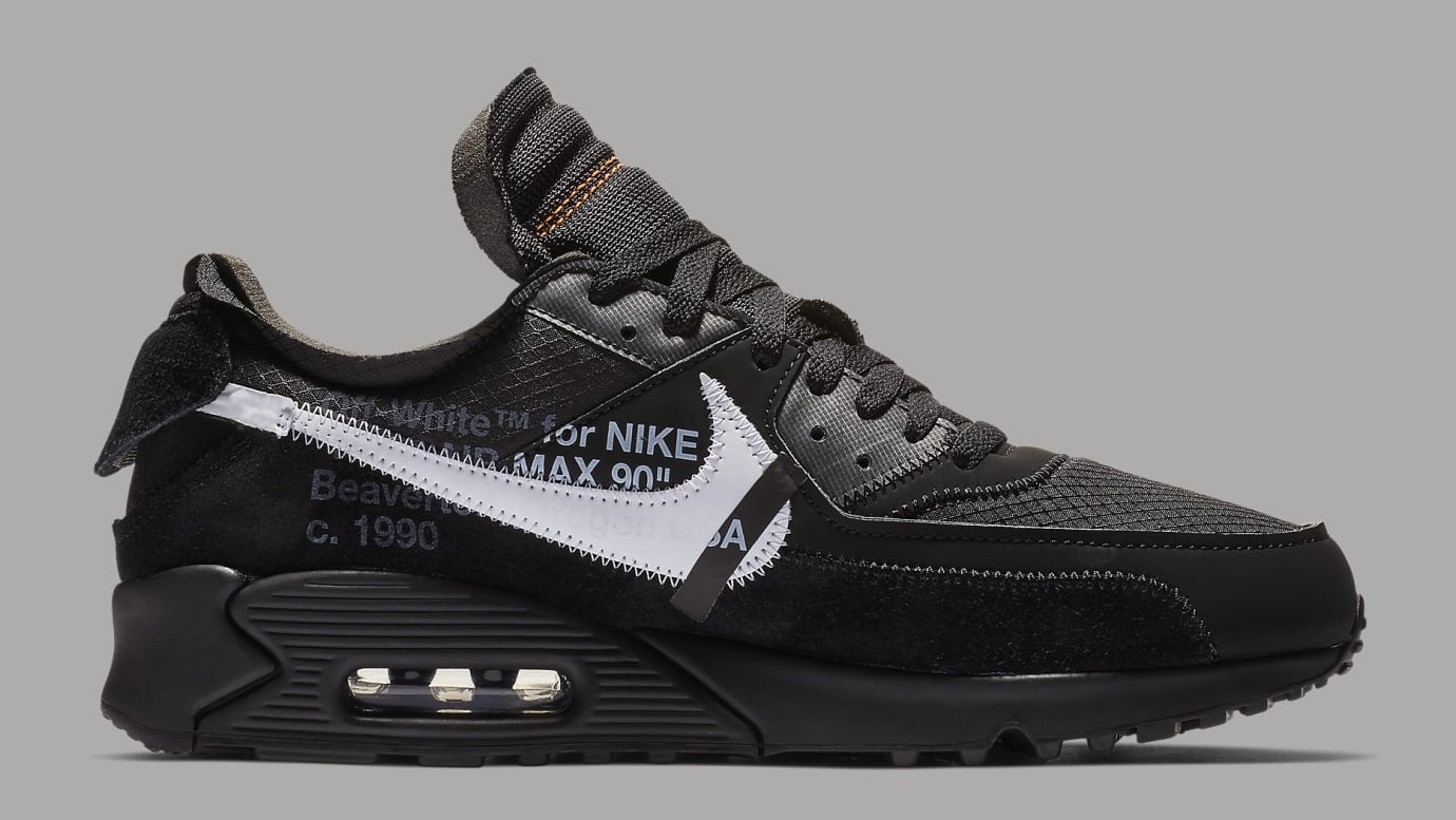 buy popular 83f55 735da Image via Nike Off-White x Nike Air Max 90 Black Release Date AA7293-001  Medial