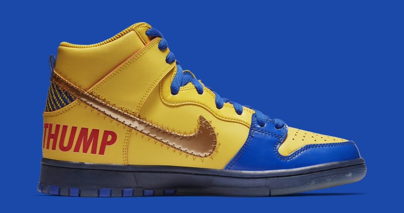Nike SB Dunk High 'Doernbecher' Vivid Sulfur/Game Royal 579603-740 (Medial)