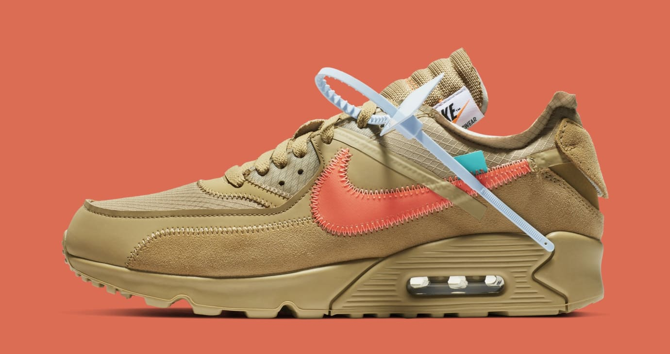 Off-White x Nike Air Max 90 'Desert Ore' AA7293-200 (Lateral)