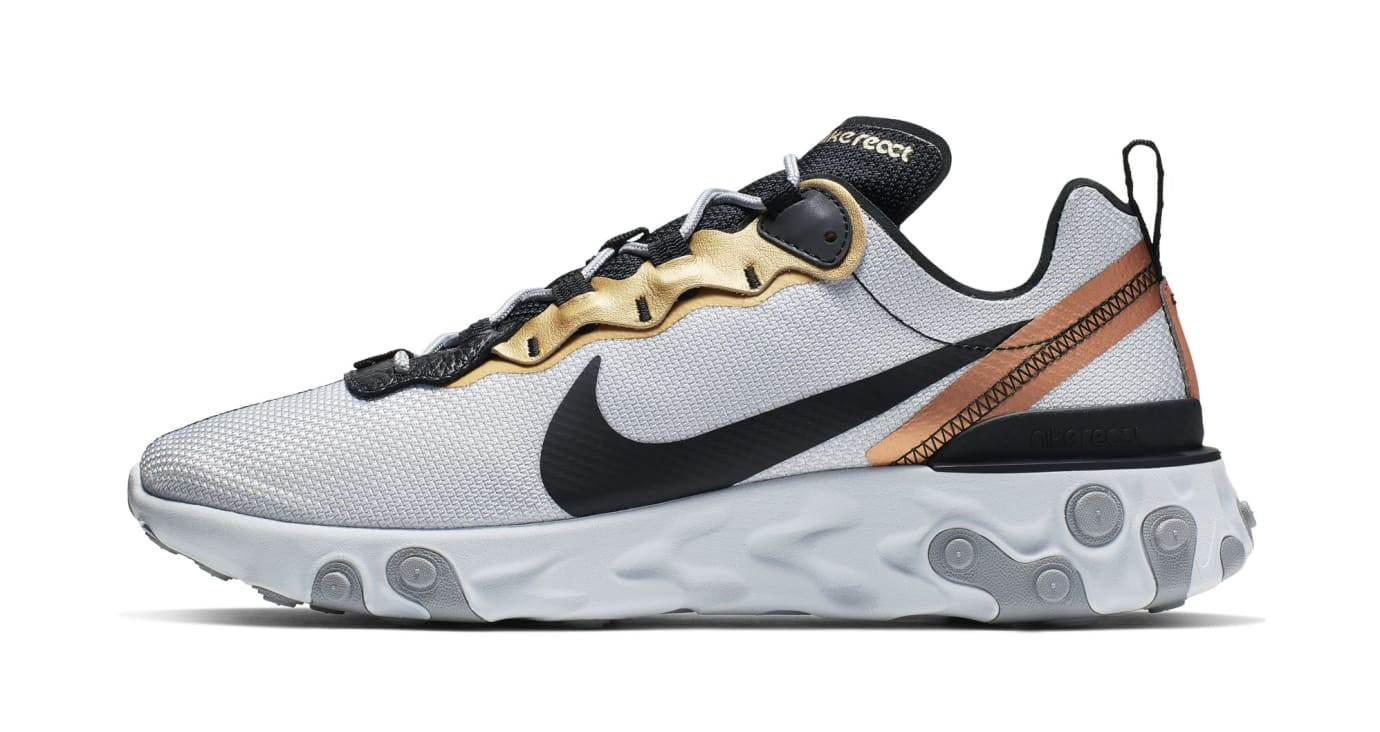 Nike React Element 55 'Light Grey/Black-Metallic Gold' (Lateral)