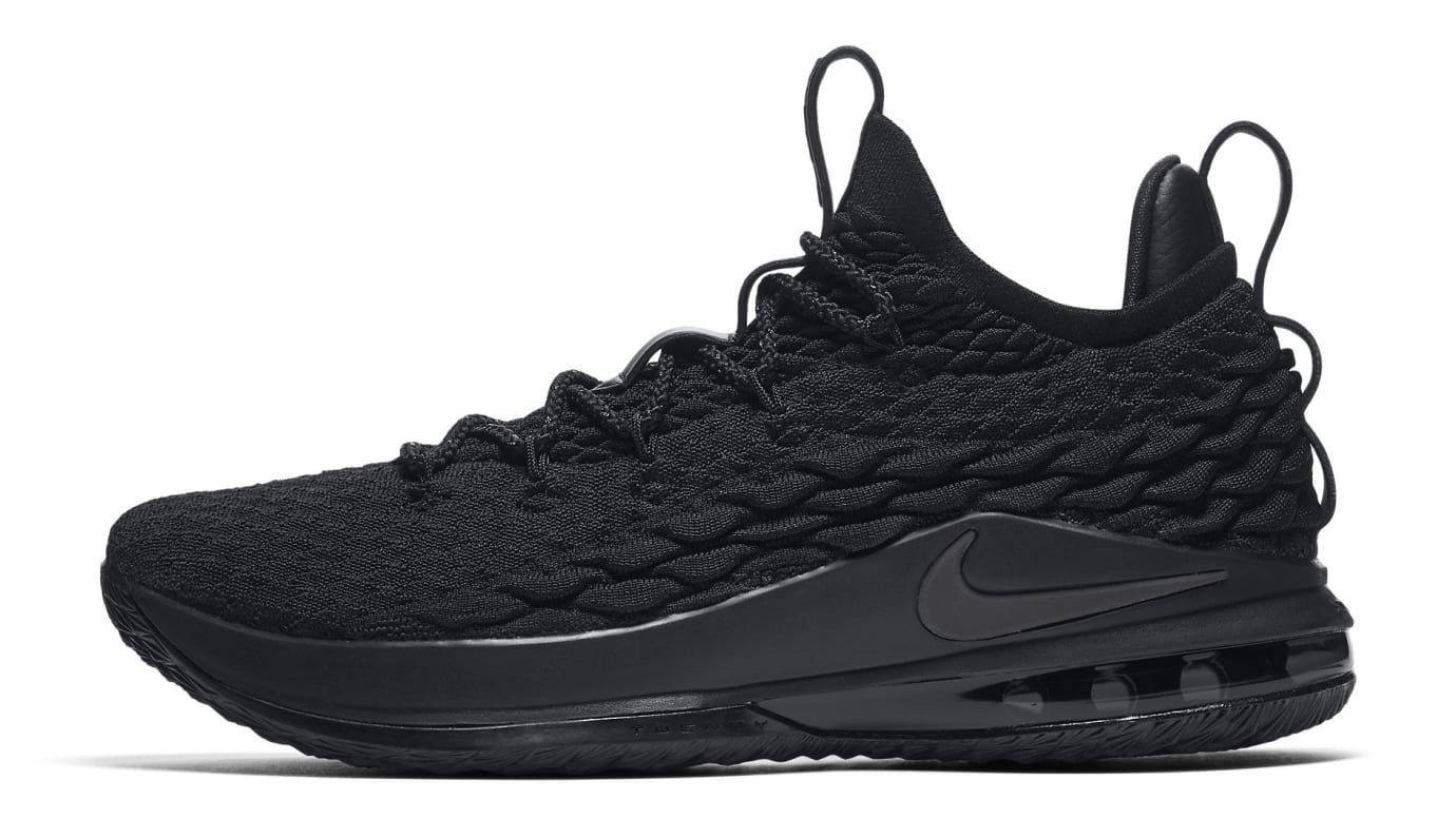 61c0695eebb1a ... clearance nike lebron 15 low triple black ao1755 004 096ba f051f