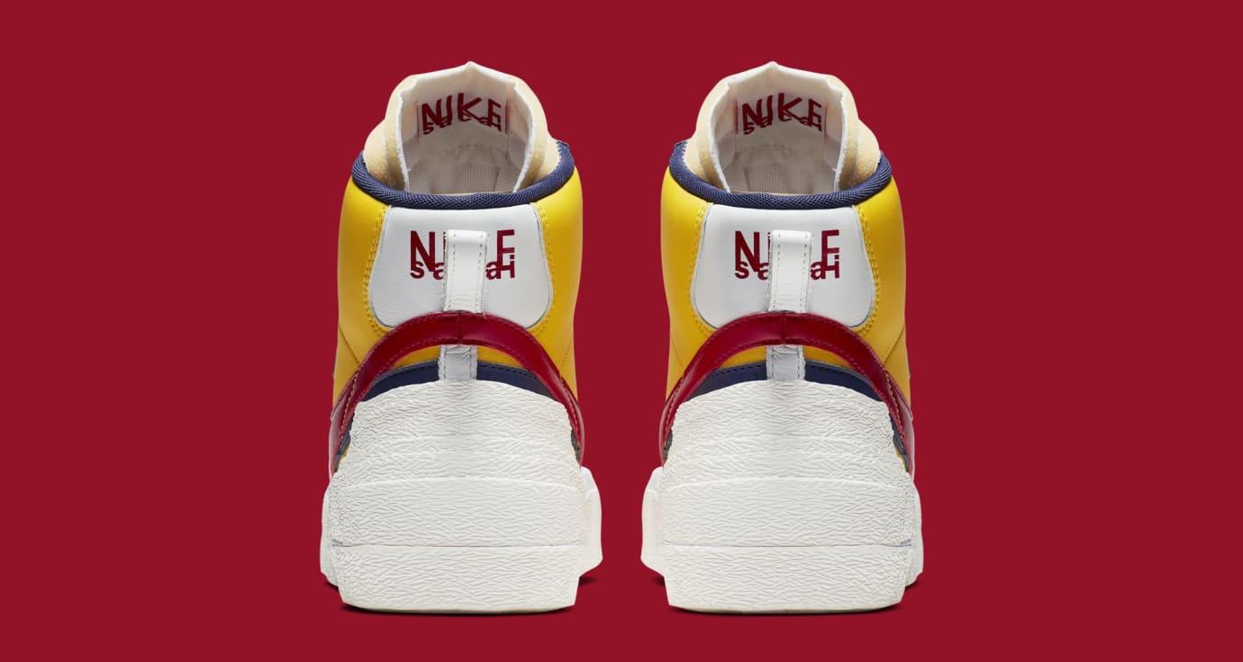 Sacai x Nike Blazer High 'Varsity Maize/Varsity Red/Midnight Navy' BV0072-700 (Heel)