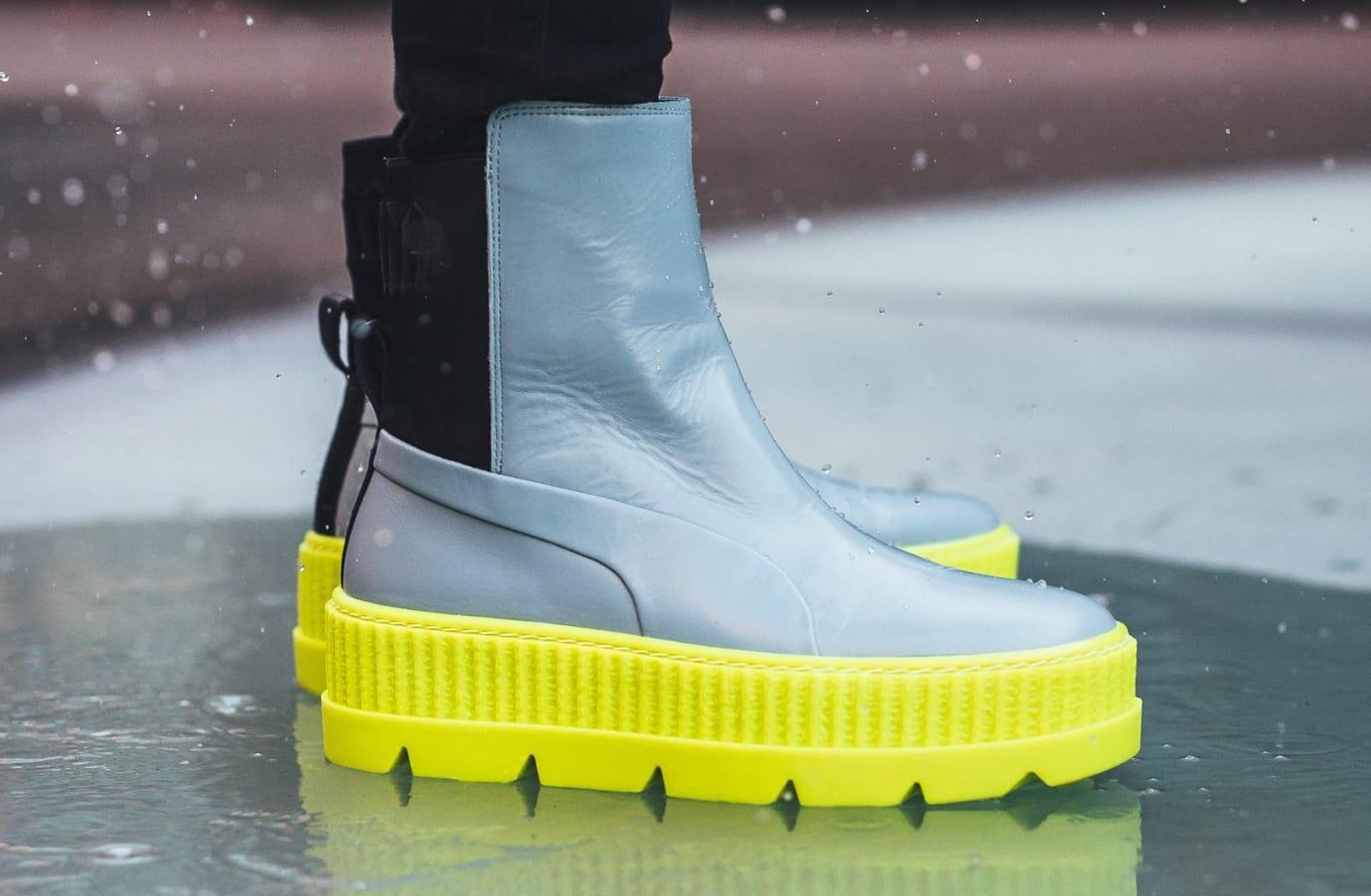 231867543fe0 Rihanna x Puma Fenty Chelsea Sneaker Boot Grey Release Date Side
