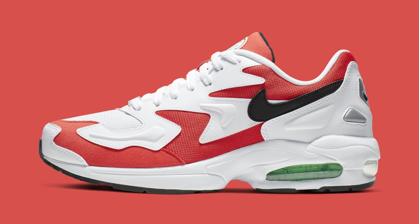 Nike Air Max2 Light 'White/Black-Habanero Red-Cool Grey' AO1741-101 (Lateral)