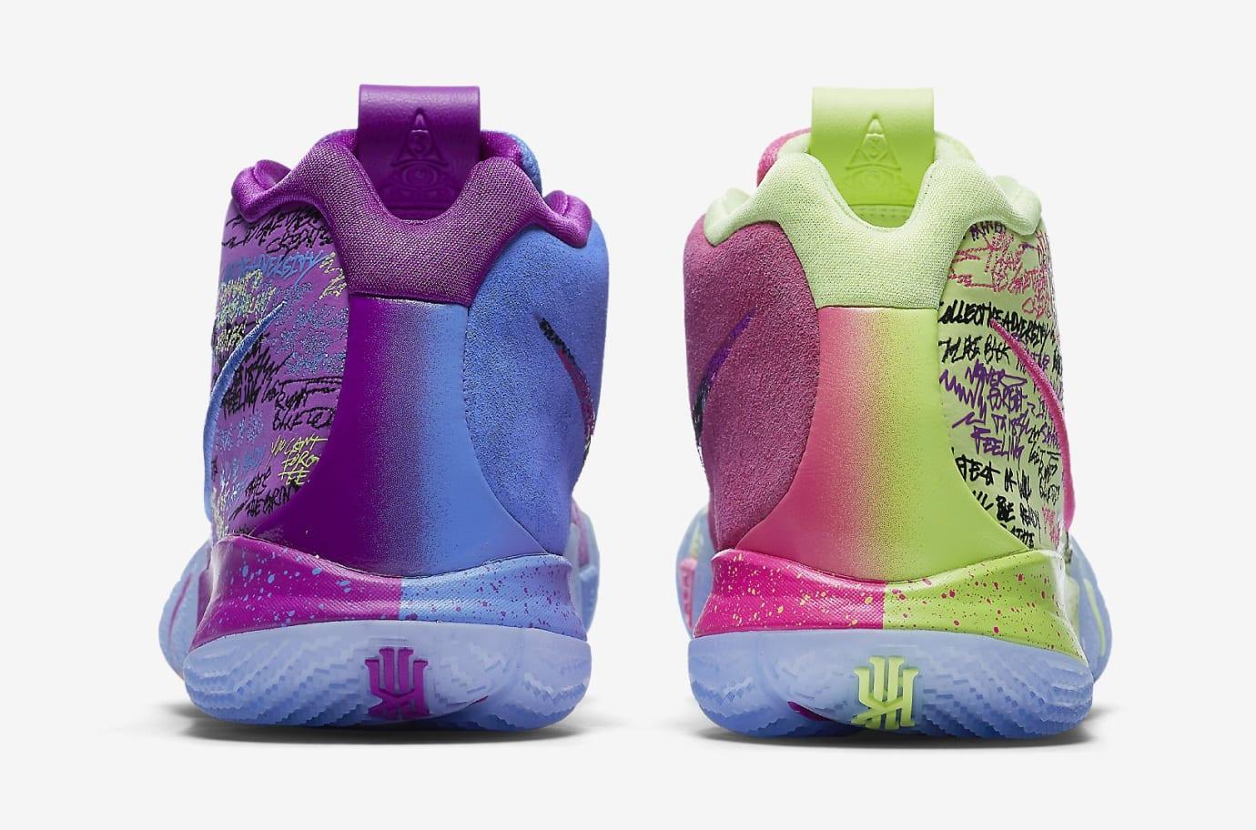 Nike Kyrie 4 Confetti Multicolor Yellow Purple Release Date 943806-900 Heel