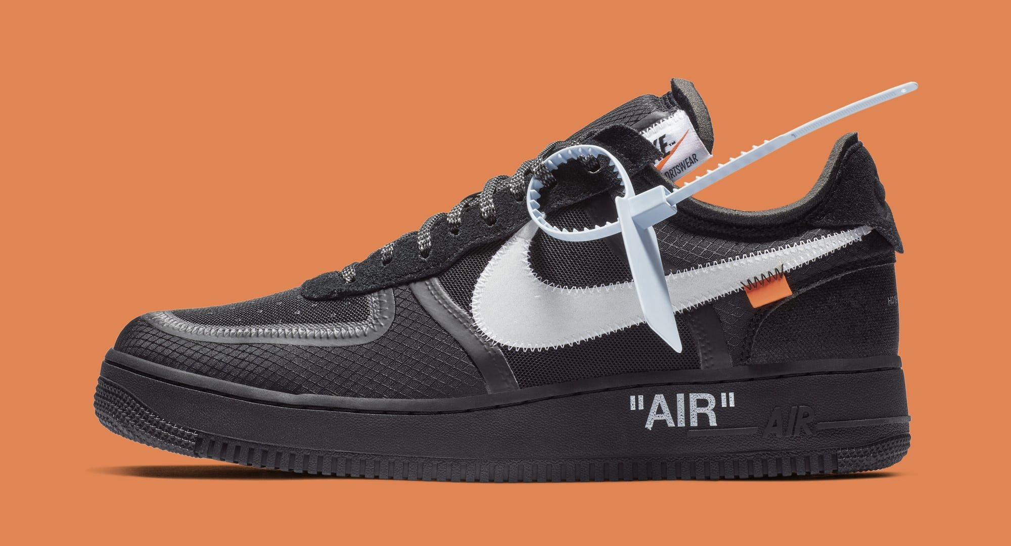 Off-White x Nike Air Force 1 Low 'Black/White' AO4606-001 (Lateral)