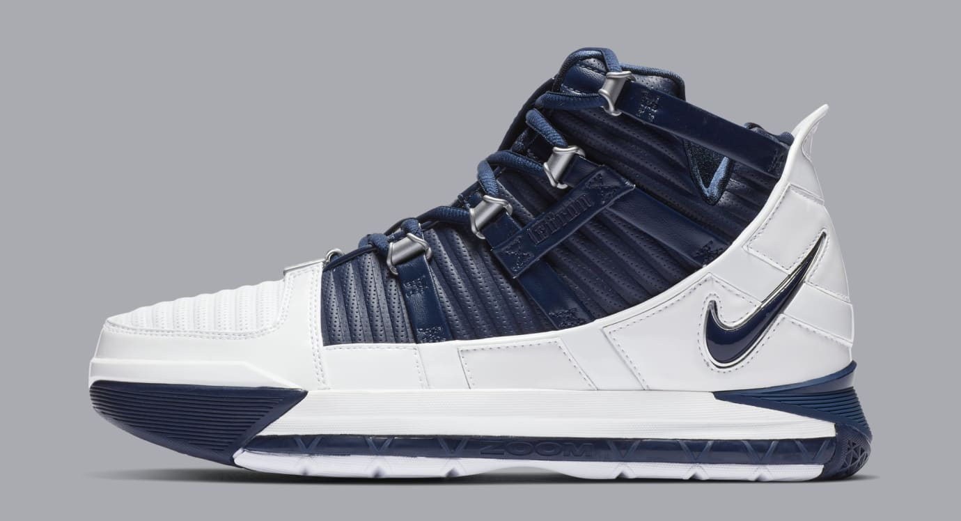 wholesale dealer 3dd14 7c7a0 Nike Zoom LeBron 3 'White/Navy Blue/Silver' Release Date ...