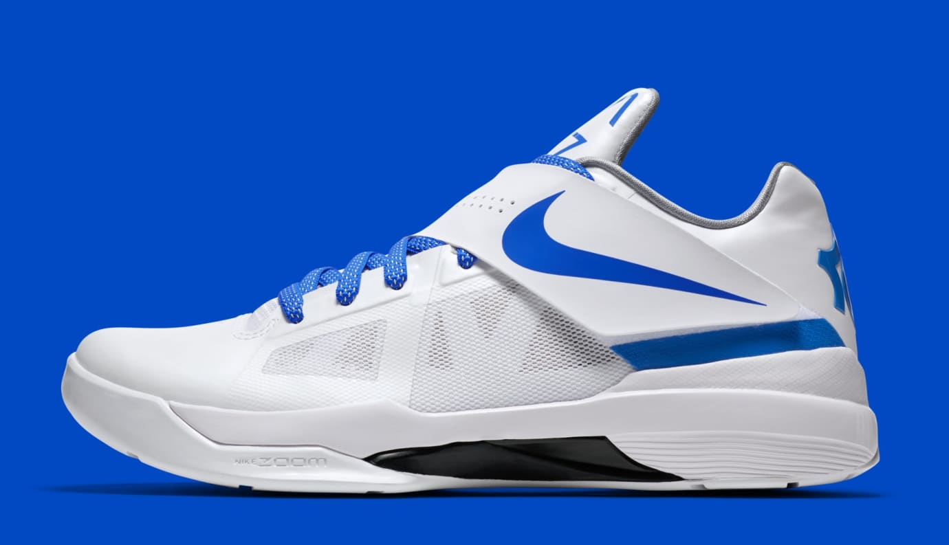 dca527ad339a Nike KD 4  Thunderstruck  Retro White Photo Blue Wolf Grey Black ...