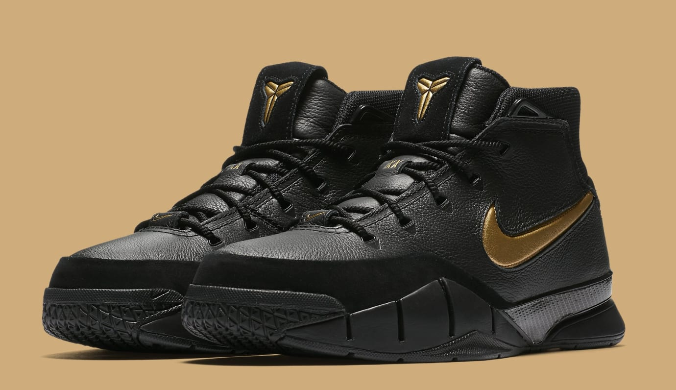 Nike Kobe 1 Protro 'Black/Black/White/Metallic Gold' AQ2728-002 (Pair)